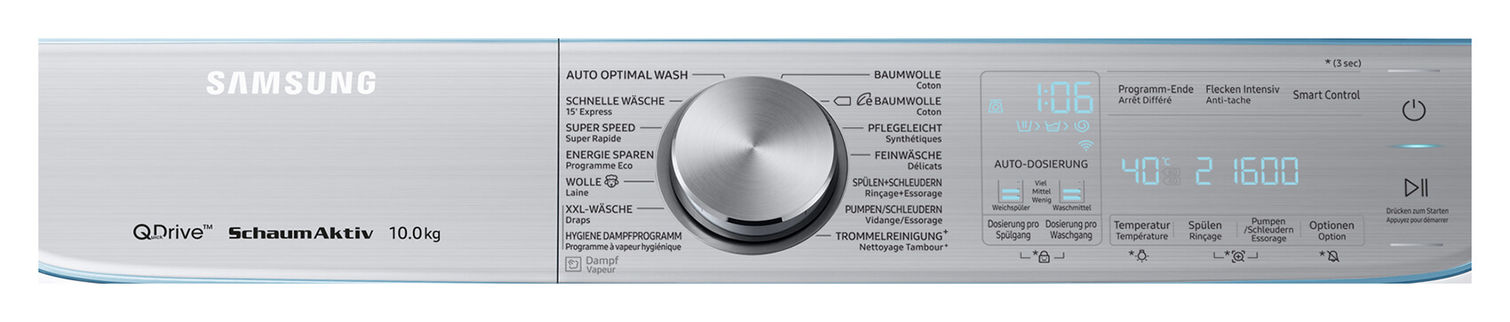 Samsung WW10M86INOA/WS QuickDrive washing machine Crystal Blue left