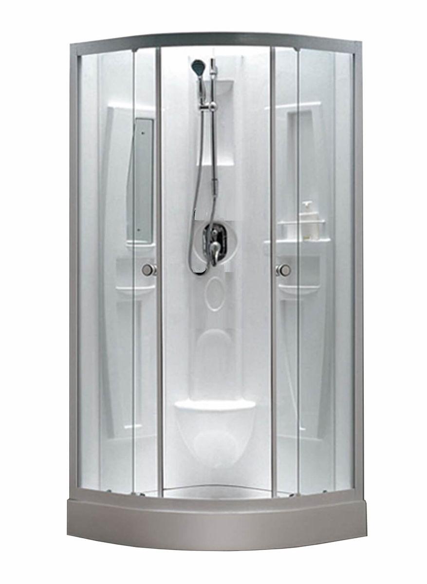 Image of AQUAPERL 90cm echtglas klar Duschkabine weiss