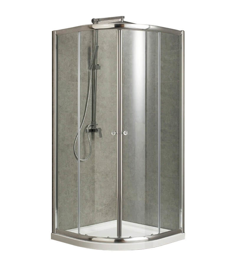 Image of AQUAPERL Classic 80cm echtglas klar rund Duschkabine chrom