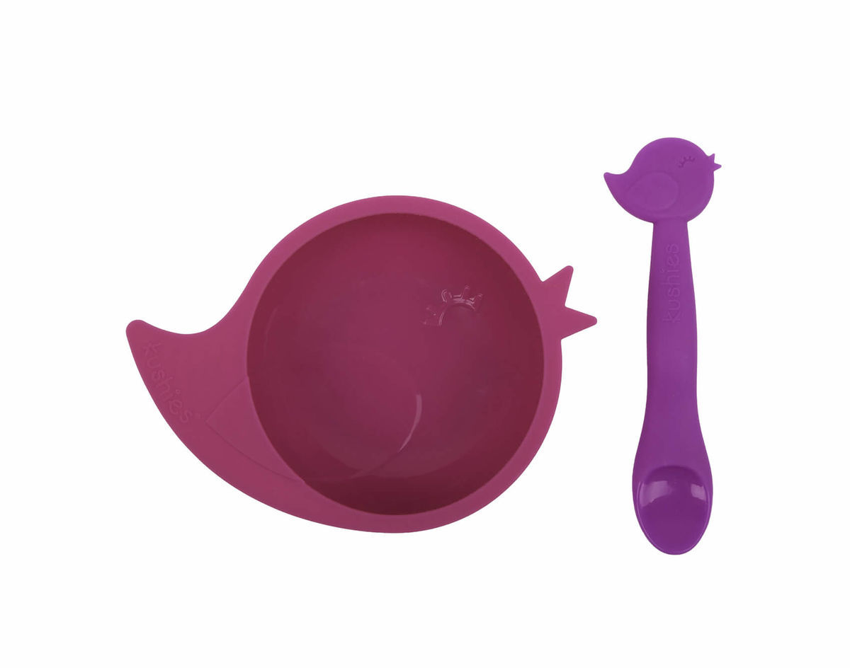 Kushies SiliBowl Silikonschale mit Löffel Vogel pink