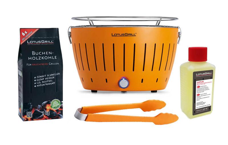 Lotusgrill Grill Mandarinorange Grillzange Brennpaste Holzkohle
