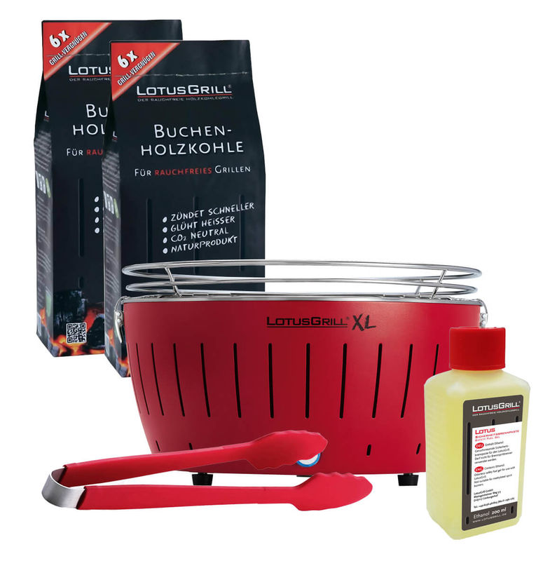 Lotusgrill Xl Grill Rot Grillzange Brennpaste Holzkohle Kaufen