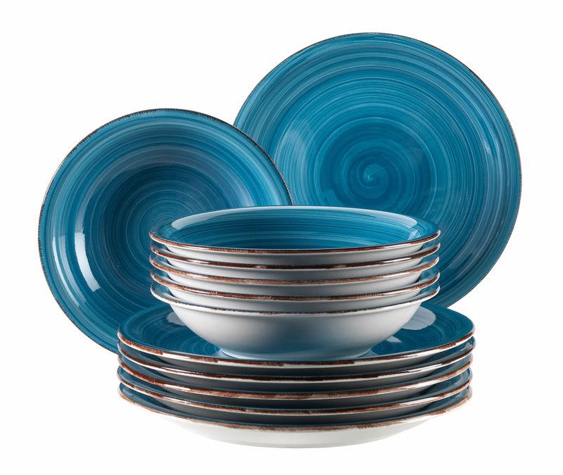 énorme réduction 9367f 4e313 Mäser Bel Tempo Service de table 12 pièces bleu foncé